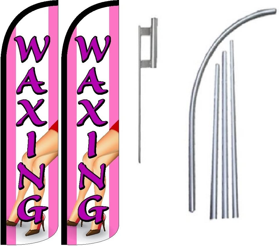 Pack of 2 Waxing King Windless Swooper Flag Sign Kit With Pole and Ground Spike