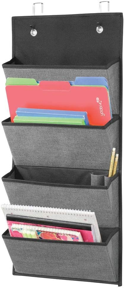 mDesign Soft Fabric Over Door Hanging Home Office Storage Organizer, 4 Large Cascading Pockets - Holds Office Supplies, Planners, File Folders, Notebooks - Textured Print - Charcoal Gray/Black