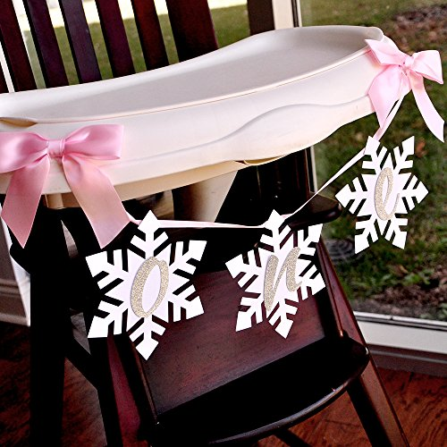 Winter Onederland Snowflake Highchair Banner in Pink and Silver. One High Chair Banner.