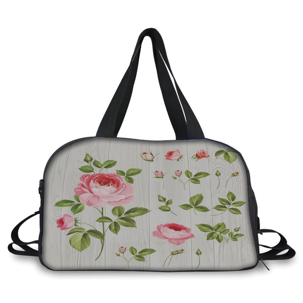 iPrint Travelling bag,Floral,Vintage Rose Petals over Wooden Board Background Wedding Romance Artsy Design,Baby Pink Khaki ,Personalized