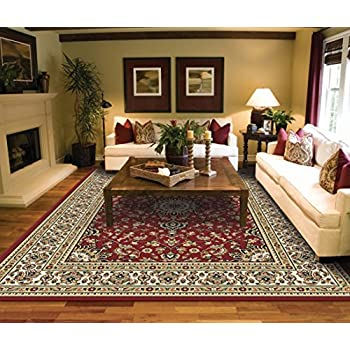 Amazon Com Modern Burgundy Rugs Living Dining Room Red