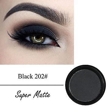066a41839ea1 ... Metallic Glitter Eye Shadow Color Round Colorful Glazed Professional  Single Color Matte Pigment Powder Long Lasting 12 Colors (Black 202 )    Beauty