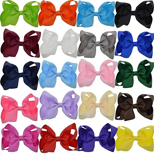 4in Bow - LCLHB Grosgrain Ribbon Bow With Alligator Clips For Babies Teens and Juniors (4 Inch and Pack of 20)