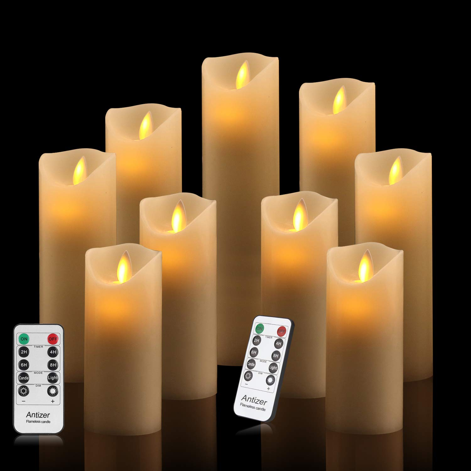Antizer Flameless Candles Set of 9 Ivory Dripless Real Wax Pillars Include Realistic Dancing LED Flames and 10-Key Remote Control with 24-Hour Timer Function 400+ Hours by 2 AA Batteries by Antizer