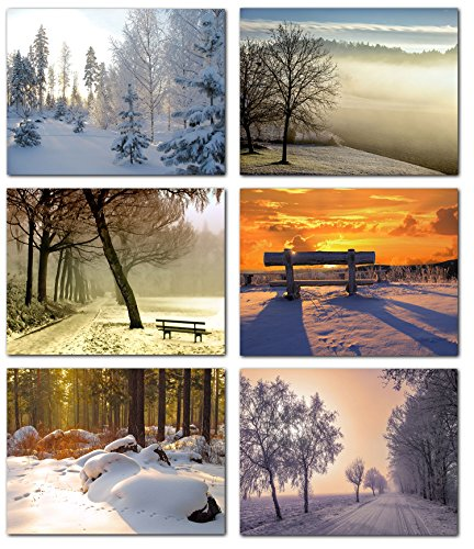 Beautiful Winter Scenes Blank Note Cards - Greeting Cards with Envelopes - 6 Unique Designs - 5.5