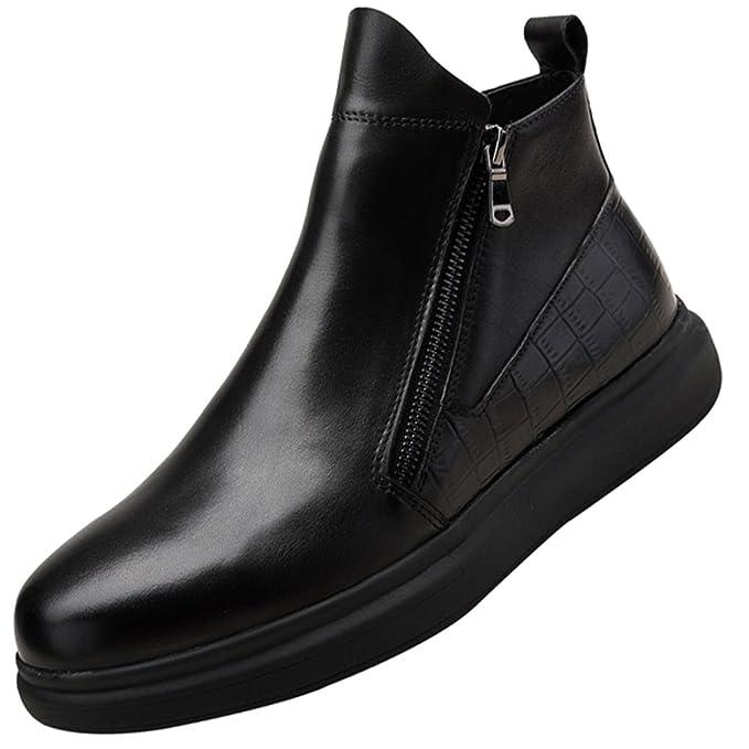 Botas De Hombre QVRGE Botines Botas Altas Botas De Invierno Zapatos Casuales Zapatos Clásicos De Derby,Black-44EU: Amazon.es: Ropa y accesorios