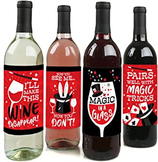 product image for Big Dot of Happiness Ta-Da, Magic Show - Magical Birthday Party Decorations for Women and Men - Wine Bottle Label Stickers - Set of 4