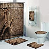 Philip-home 5 Piece Banded Shower Curtain Set Antlers Deer Antlers On Wood RusticTexture Surface Hunting Season ating in Out Carpet Pattern Adornment
