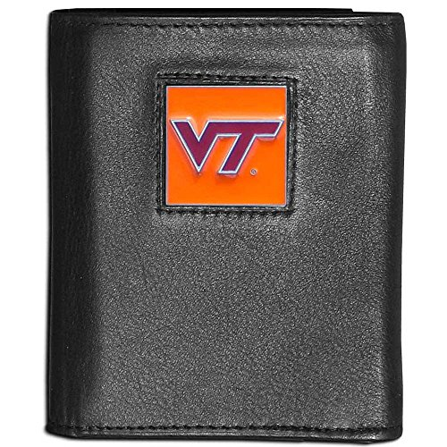 NCAA Virginia Tech Hokies Leather Tri-Fold Wallet (Square Tech Virginia Logo)