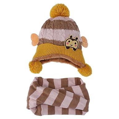 022dc3461a5 Domybest 2pcs Baby Winter Warm Caps Dual Ball Bee Pattern Boy Girl Knit Hats  + Scarf Set(Beige)  Amazon.co.uk  Clothing