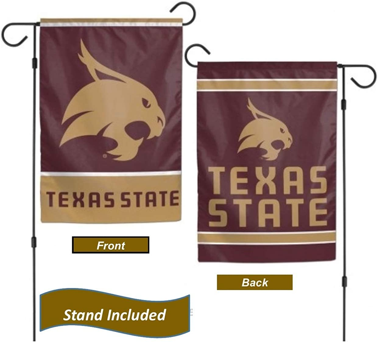 Texas State Bobcats Garden Flag Set with Stand, Printed in The USA, 12.5