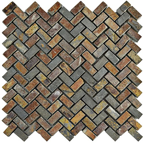 "SomerTile SCRHRSS Cliff Herringbone Sunset Slate Natural Stone Mosaic Floor and Wall Tile, 12"" x 12"", Grey/Brown/Red/Orange"