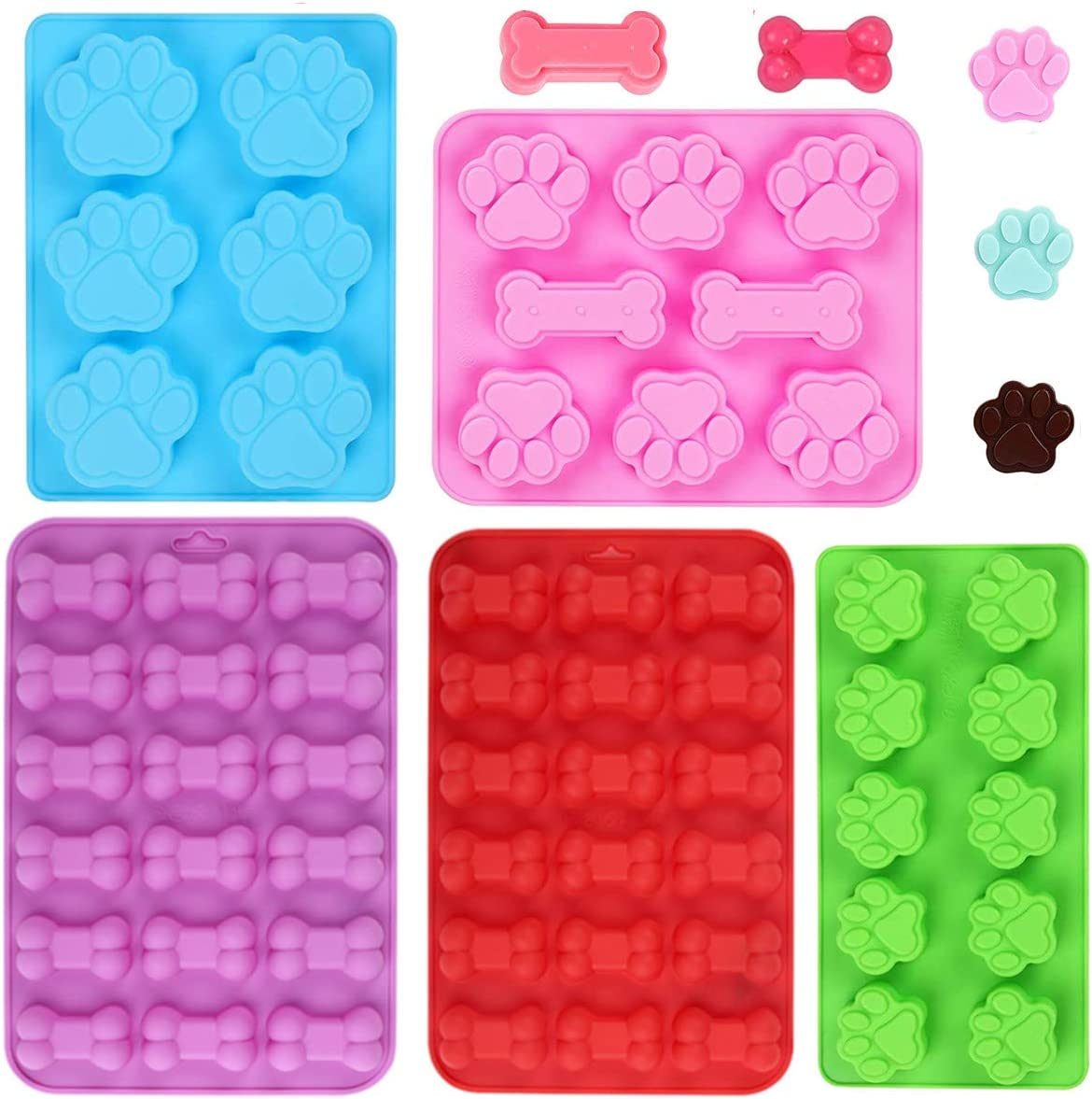 XIYUMINHONG Dog Paw and Bone Shaped Silicone Mold, Non-Stick food Grade, Reusable Silicone Mold, Used for Chocolate, Candy, Pudding, Jelly, Puppy Biscuit (5 pcs)