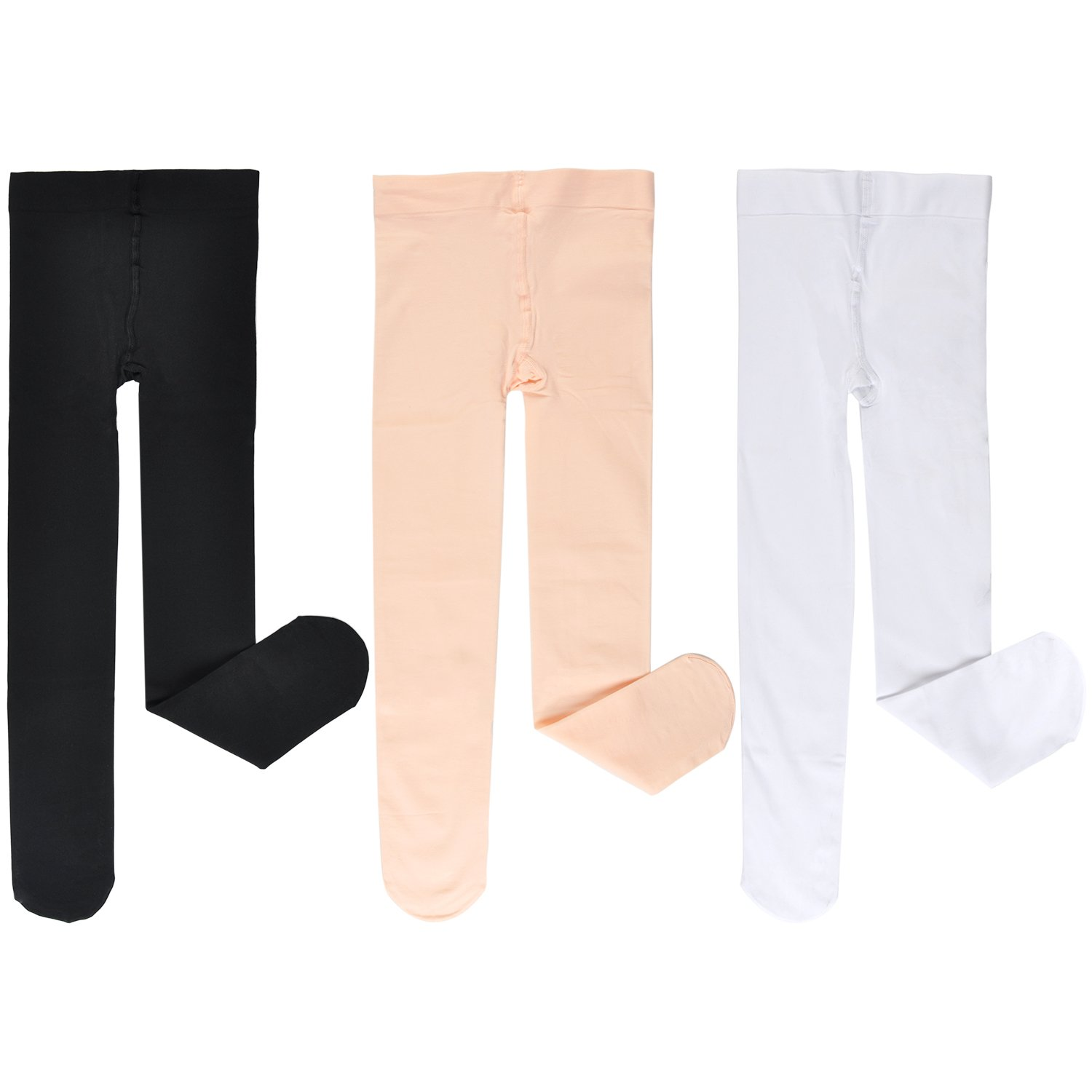 EPEIUS Little Girls Pro Dance Tights 80D//90D Footed Ballet Tights Pack of 3