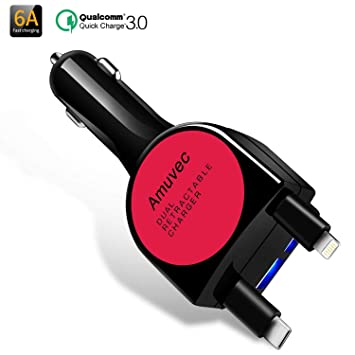 Amuvec Cargador Doble USB Coche Carga rapida(6A/40W),Quick Charge 3.0 Multi Adaptador con iP&Tipo-C Cable Retráctil,para Phone X 8 Samsung Galaxy ...