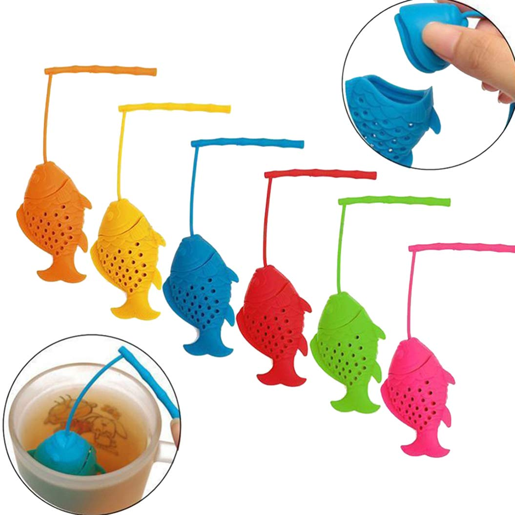 Angel Novelty The Tea Strainer - Silicone Fish Loose Tea Leaf Infuser Spice Herbal Strainer Diffuser- Reusable Silicone Tea Infuser - Perfect Tea Lovers Gift(2Pcs)