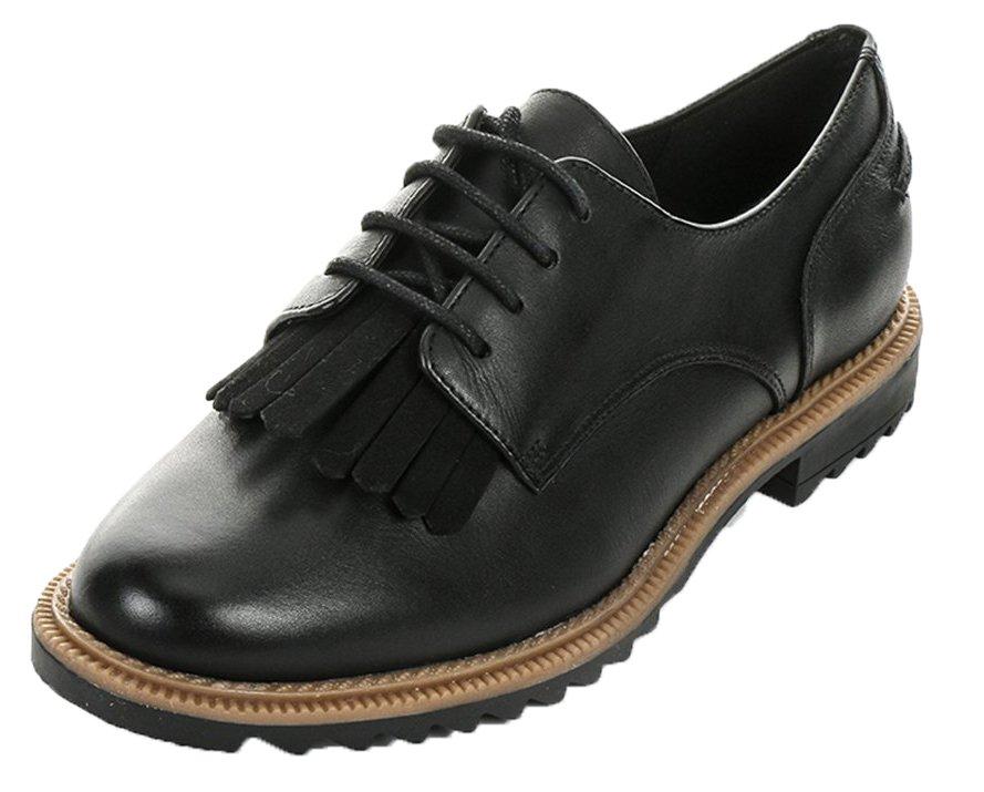 Clarks Damen Griffin Mabel Brogue Schnuuml;rhalbschuhe37 EU|Schwarz (Black Leather)