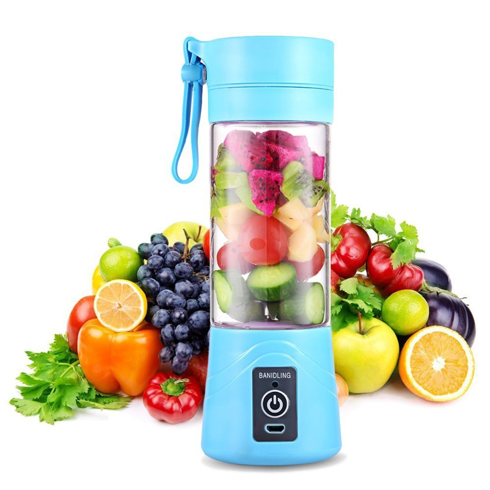 G-Anica® Smoothie Blender Portable, Personal Blender Mini Travel Juice Cup, Portable Smoothie Maker 400ml Fruit Mixing Machine with USB Charger Cable for Juice Maker, Shakes and Smoothies Blender