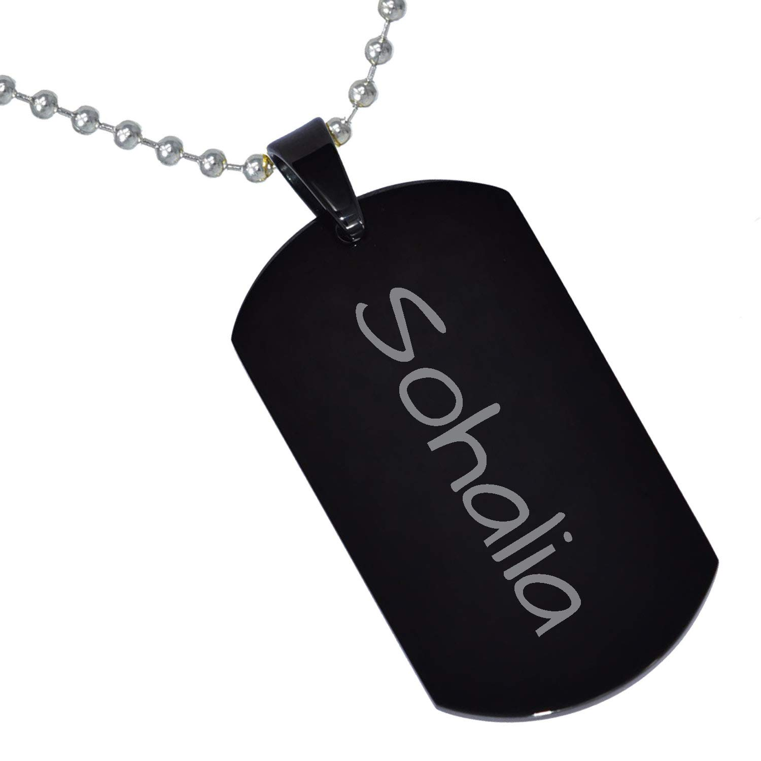 Stainless Steel Silver Gold Black Rose Gold Color Baby Name Sohalia Engraved Personalized Gifts For Son Daughter Boyfriend Girlfriend Initial Customizable Pendant Necklace Dog Tags 24 Ball Chain