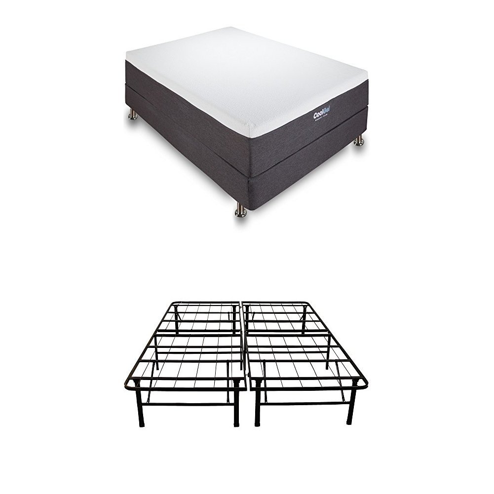 12 cool gel memory foam mattress with 14 heavy metal - Cool queen bed frames ...