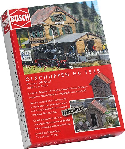 1545 Oil - Busch 1545 Wooden Oil Shed HO Structure Scale Model Structure