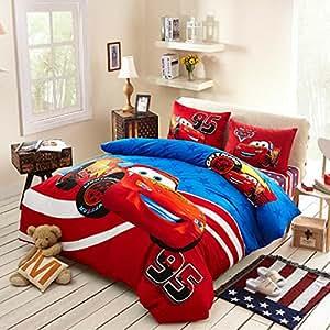 Amazon.com: Sisbay Red Sports Car Bedding Queen Size,Boys ...