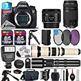Canon EOS 6D DSLR Camera + Canon 50mm 1.8 STM Lens + Canon 75-300mm III + 650-1300mm Telephoto Lens + 500mm preset Zoom Lens+ 0.43X Wide Angle Lens + 2.2x Telephoto Lens - International Version