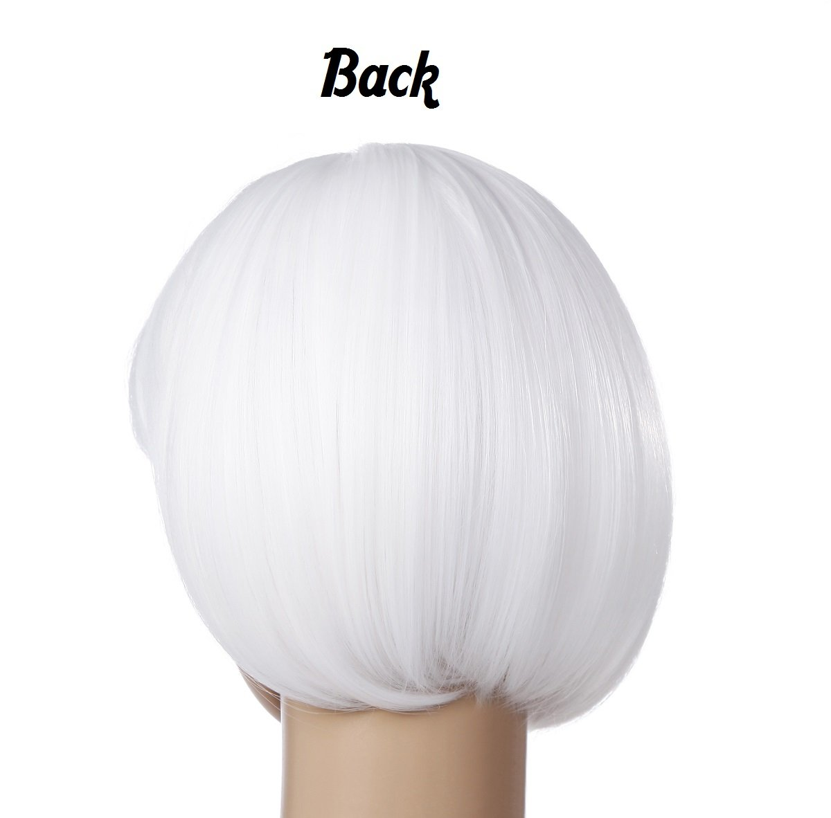 Short Straight Bob Hair Wigs 10'' Bright White Synthetic Party Costume Wig (White) by Liasun (Image #2)