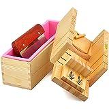 RoseFlower Taglierina di sapone, Legno Handmade Soap Kit Soap Cutter + Rettangolo Sapone Stampi in silicone con scatola di legno + acciaio INOX Coltello di sapone