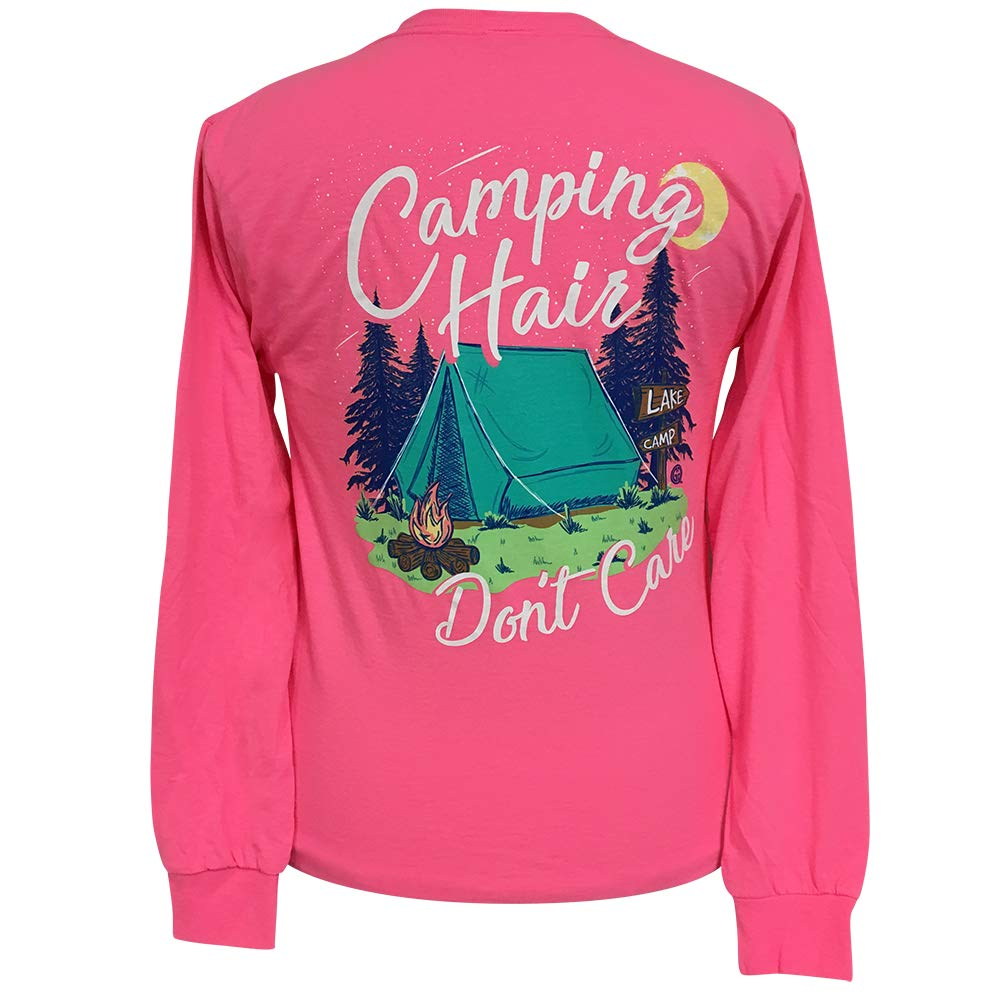 Girlie Girls Camping Hair Don't Care Long Sleeve T-Shirt