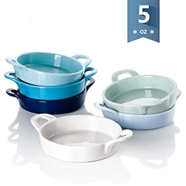 Sweese 507.003 Porcelain Ramekins, 5 Ounce Ramekins for Baking, Round Creme Brulee Dish with Double Handle-Set of 6, Cool Assorted Color