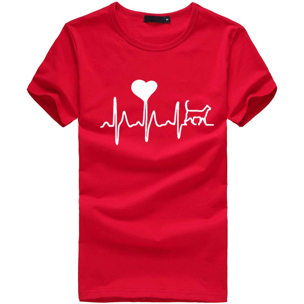 Women Short Sleeve T-Shirt Crewneck Heart Print Tee Casual Solid Tees Blouse Tunic Tops (S, Red)