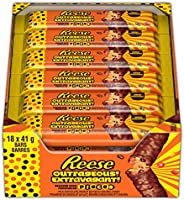 REESE Outrageous! Milk Chocolate Candy Bar Stuffed with Reeses Pieces, 41g (Bulk Box of 18)