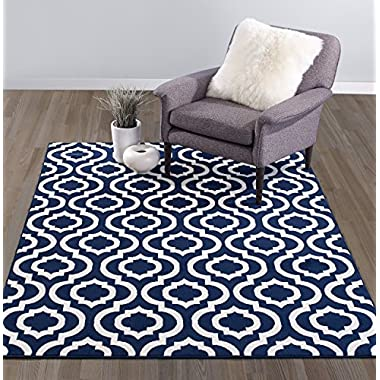 Diagona Designs Contemporary Moroccan Trellis Design Area Rug, 87  L x 63  W, Navy/Ivory