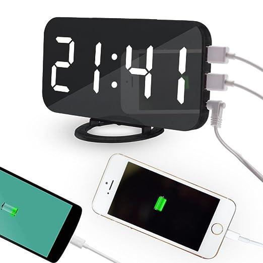 OHQ LED reloj despertador digital Snooze teléfono móvil carga ...