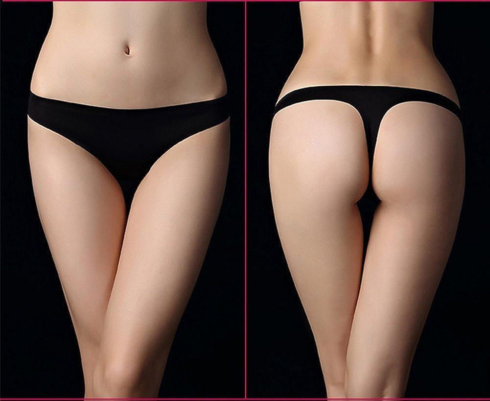YOYI FASHION Womens Black Thin Ice Silk Seamless Smooth Low-Rise High Leg Thong Panties 3 Packs