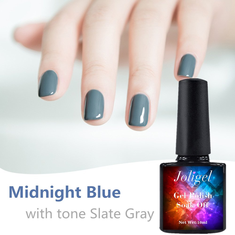 Joligel Nail Polish Gel 10ml Semi Permanent for Manicure Pedicure UV LED Soak Off, Healthy Resin No Odor, color Midnight Blue toned Slate Grey for Winter