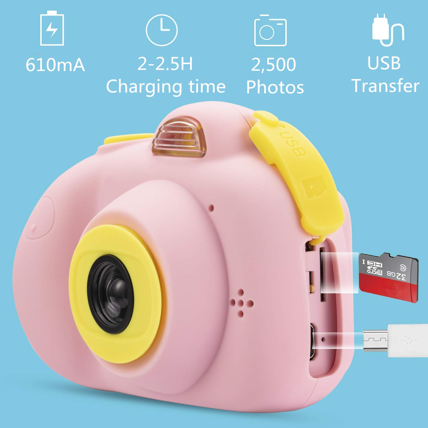 Anviker Kids Camera Gifts for 4-10 Year Old Girls, Shockproof Child Camcorder for Little Girls with Soft Silicone Shell for Outdoor Play, Pink (SD Card Not Includ) by Anviker (Image #2)