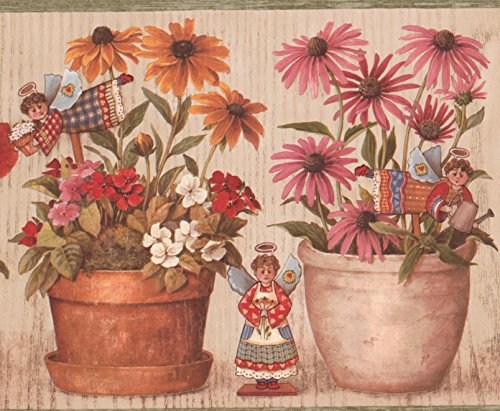 Red White Yellow Pink Flowers in Pots Cherubs Wallpaper Border Retro Design, Roll 15' x 9'' (Wallpaper Cherub)