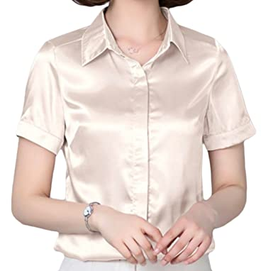 58641944c46f2f Frieed Women s Casual Short Sleeve Satin Silk Button Down Blouse Shirt Tops  at Amazon Women s Clothing store