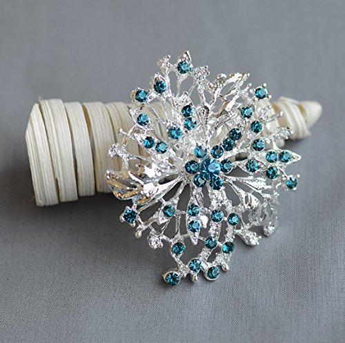 2 pcs Rhinestone Brooch Crystal Teal Blue Turquoise Blue Wedding Brooch Bouquet Cake Hair Comb Shoe Clip Accessories Supply BR196 - Teal Rhinestone Hair Clip