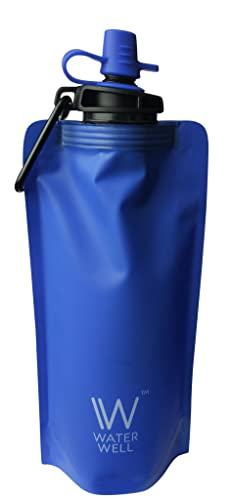 Foldable Squeeze Travel Water Bottle- Purifies Water by Eliminating 99.9% of Waterborne Bacteria & Parasites. Ultra Filtration Straw Filters 1000 Litres of fresh water. Hollow Fibre Membrane Water Purifier and Carbon Filter- For International Travel, Sports, Camping, Survival Prepper and the Outdoors- Portable Reusable . Water Well™ 500ml Uses the same filtration technology as Water Well™ hard plastic bottle version