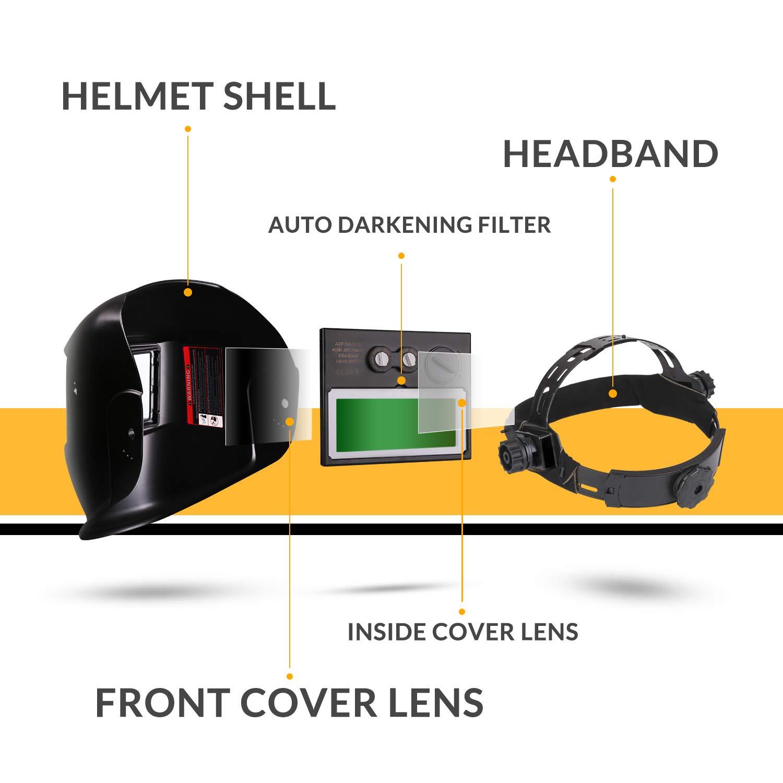 DEKO Casco de Soldadura Solar Powered Auto Oscurecimiento Capucha con Rango de Sombra Ajustable 4//9-13 para Mig Tig Soldadora de Arco Naranja Negro