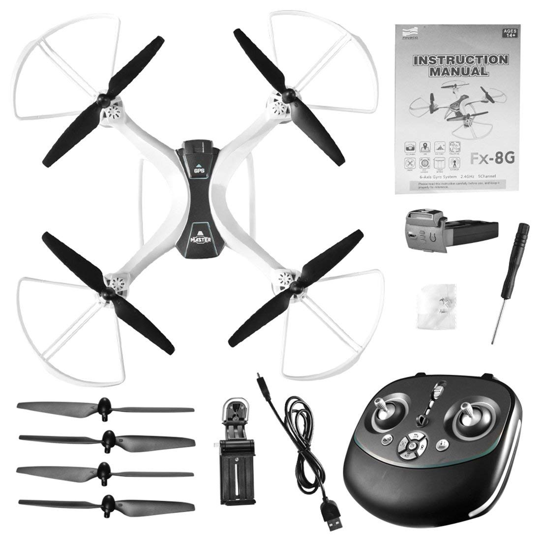 Reducción de precio Formulaone FX-8G 6-Axis WiFi FPV Drone con cámara HD Sígueme Onekey Return Altitude Hold Modo sin Cabeza GPS Quadcopter Blanco y Negro
