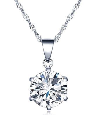 Pendentif collier 6 griffes simples avec diamant en argent et zircon pour femme