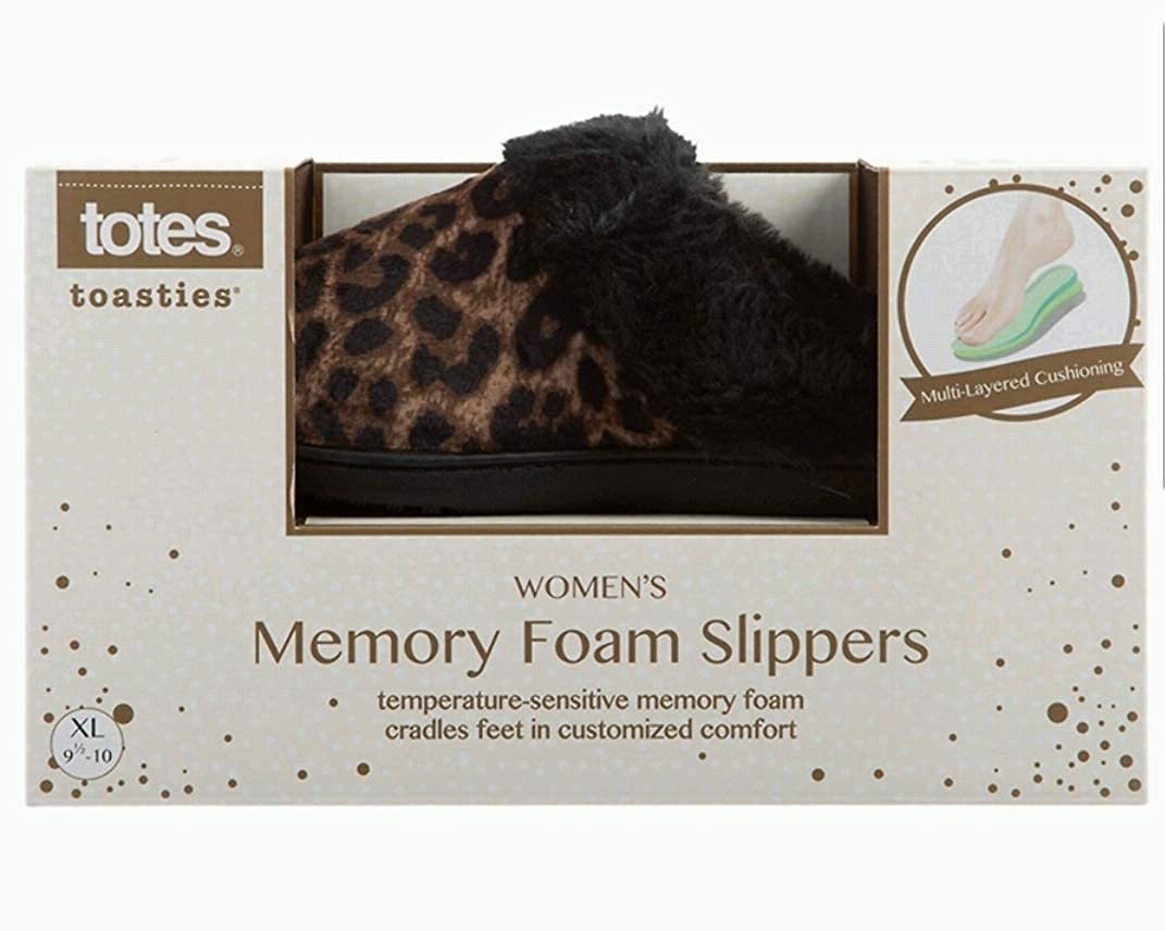 totes Toasties Womens Memory Foam Slippers Leopard