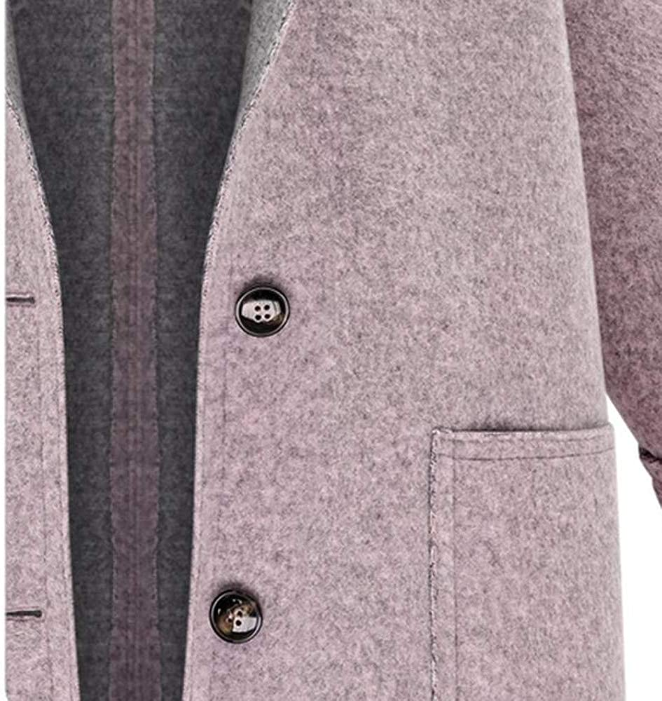 Womens Patchwork Button Winter Trench Jacket Loose Plus Size Overcoat Outwear /♥ETHELDING/♥ Wool Coats