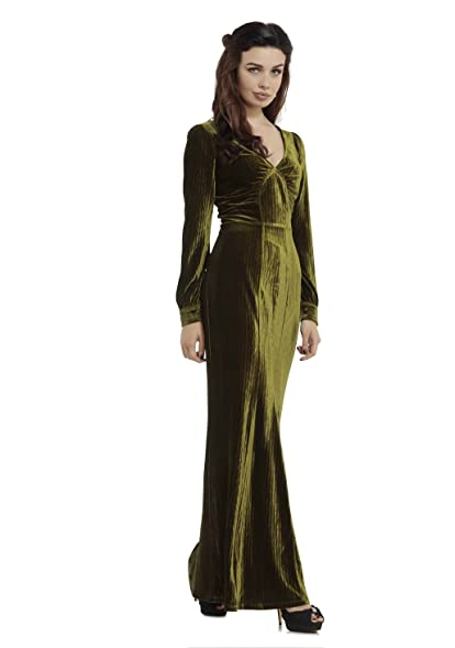 Voodoo Vixen Maxi Embossed Velvet Olive 30\'s Gown Knitted Classic ...
