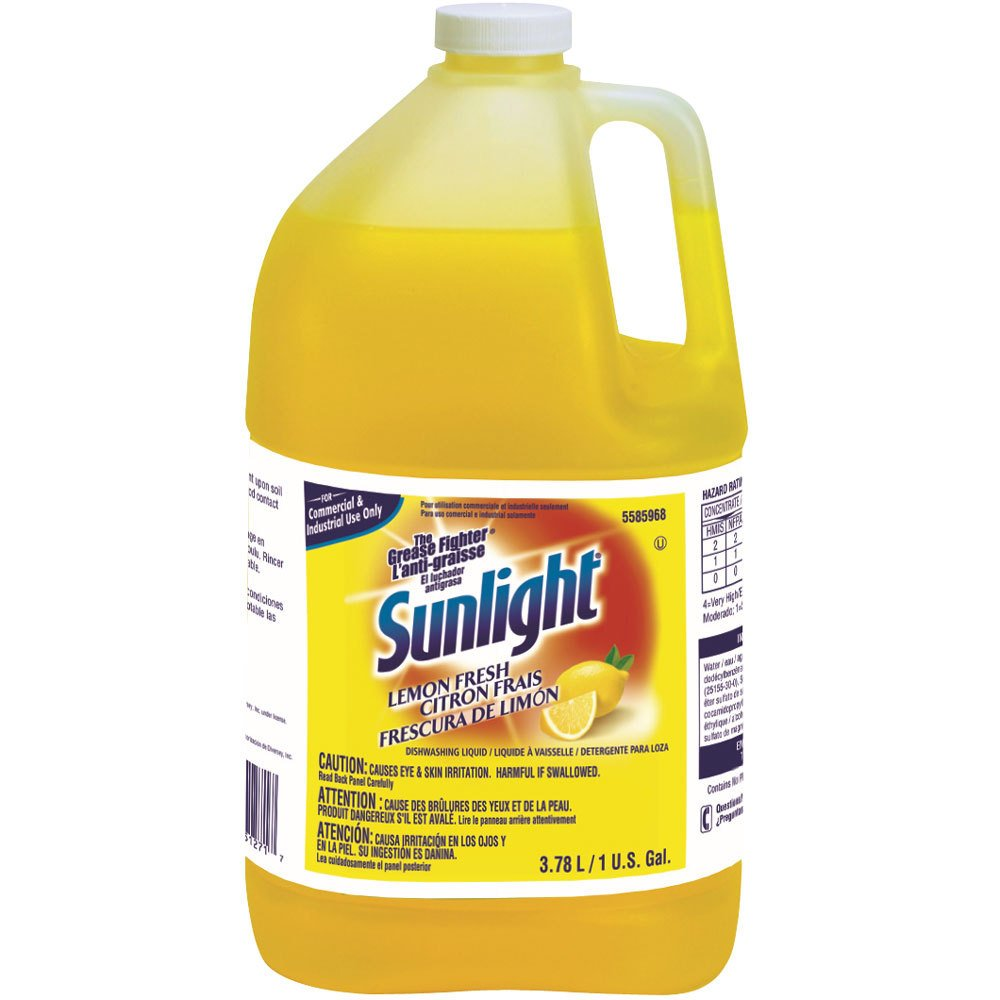 Diversey Sunlight Liquid Dish Detergent - The Grease Fighter - Lemon Scent, 1 Gallon (4 Pack)