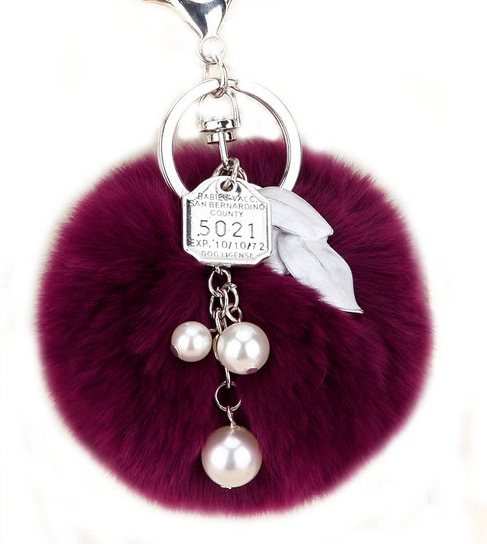 Artificial Rabbit Fur Pearl Ball Keychain Phone Bag Charm Pendant - Various styles - 3鈥